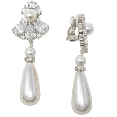 Clip on pearl drop bridal earrings, CZ wedding earrings